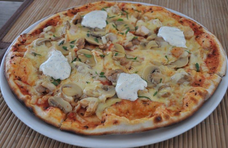 Pizza do cogumelo e da galinha imagens de stock