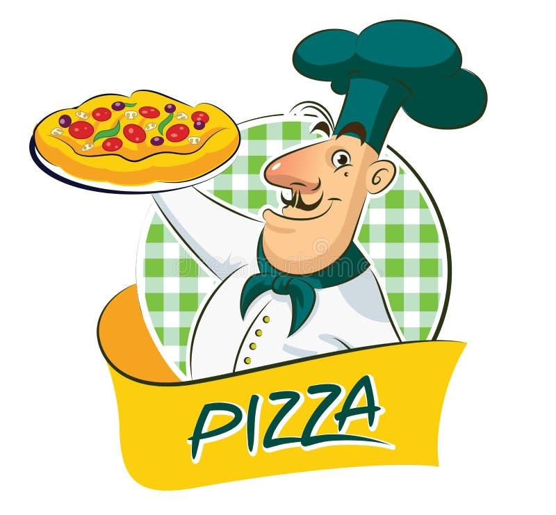 Pizza do cozinheiro ilustração do vetor