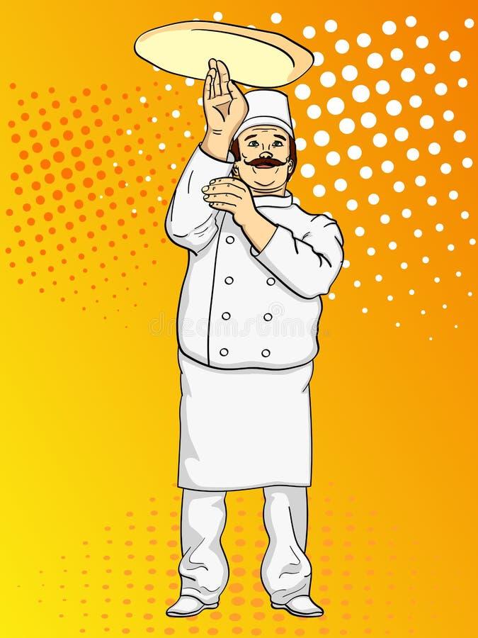 Pizza do cozinheiro do homem do pop art Cozinheiro chefe que lanç a massa da pizza Imitação do estilo da banda desenhada Estilo r ilustração royalty free