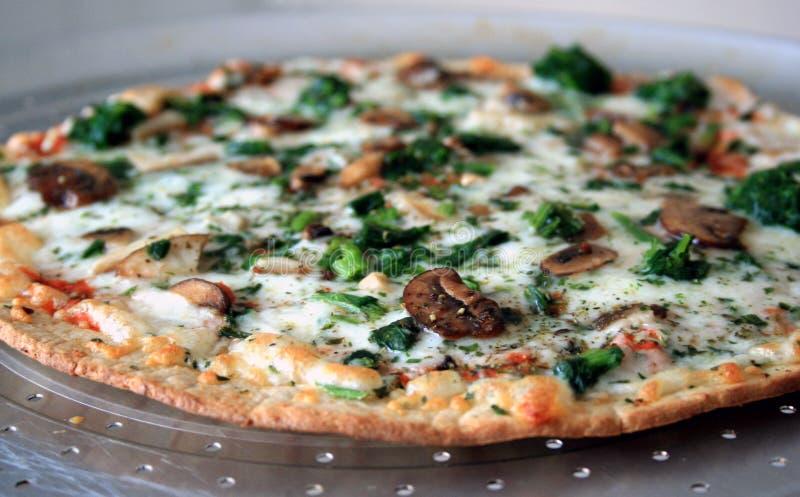 Pizza do espinafre do cogumelo imagens de stock