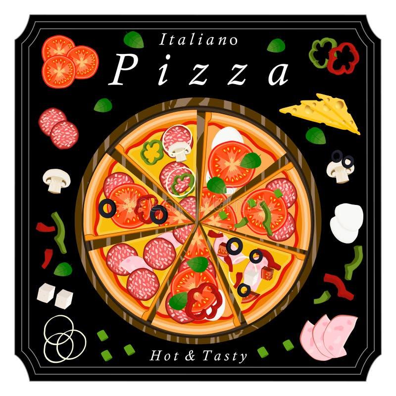A pizza do grupo ilustração stock