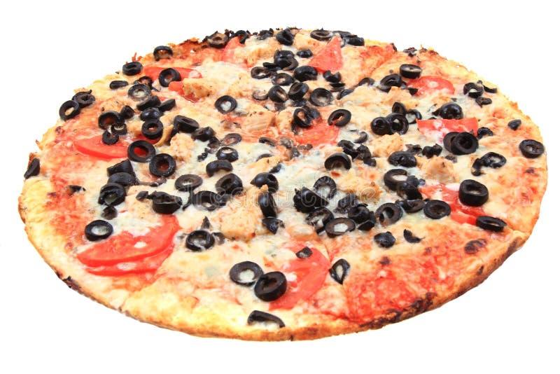 pizza do tomate com queijo e azeitonas fotografia de stock royalty free