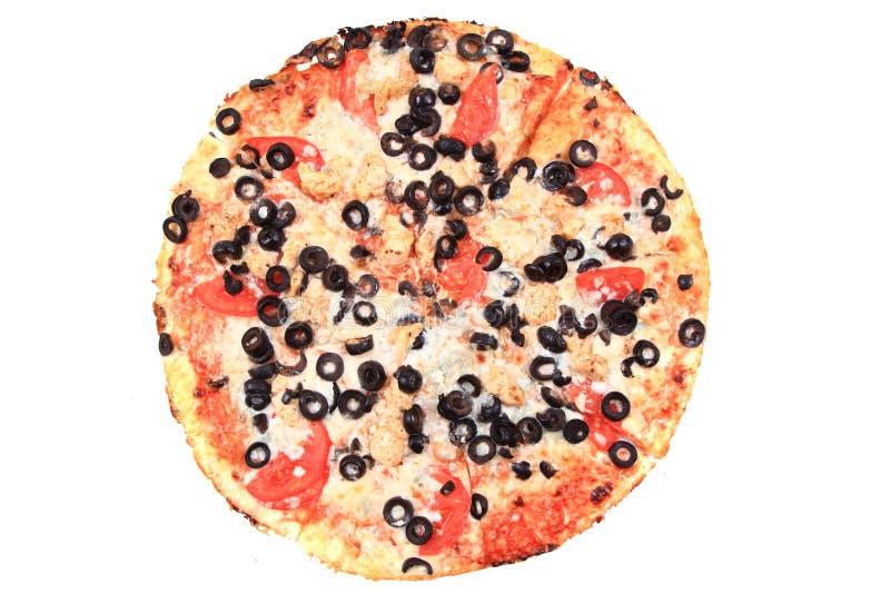 pizza do tomate com queijo e azeitonas imagens de stock royalty free