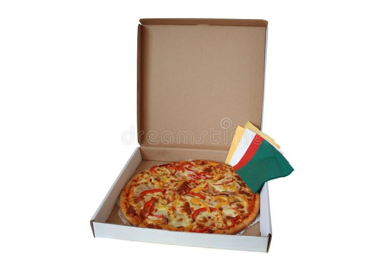 Pizza in doos royalty-vrije stock afbeelding