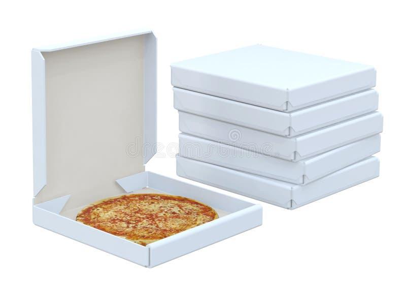 Pizza in doos en velen doos royalty-vrije stock foto