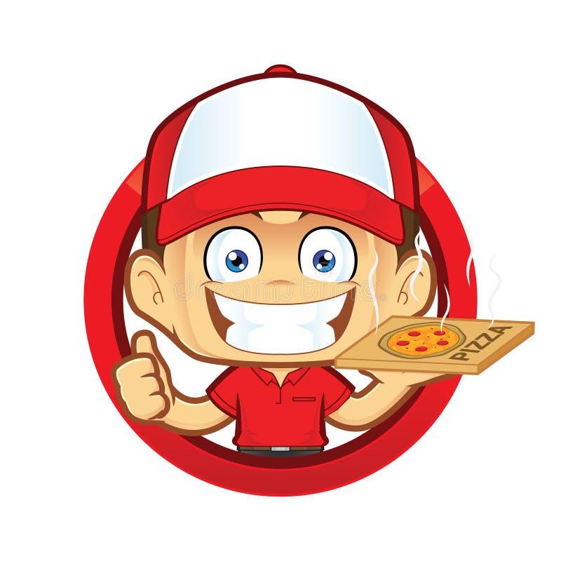 Pizza doręczeniowego mężczyzna kurier daje aprobatom w okręgu kształcie ilustracji