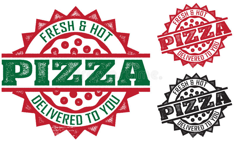 pizza doręczeniowi znaczki royalty ilustracja