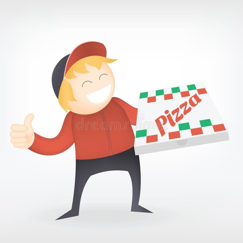 Pizza doręczeniowy mężczyzna ilustracji