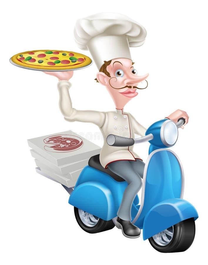 Pizza Doręczeniowy szef kuchni na Moped royalty ilustracja