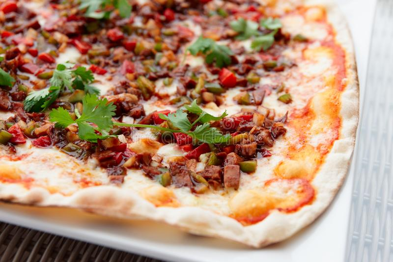 Pizza with duck and sweet-sour barbecue sauce, Asian style dish stock image