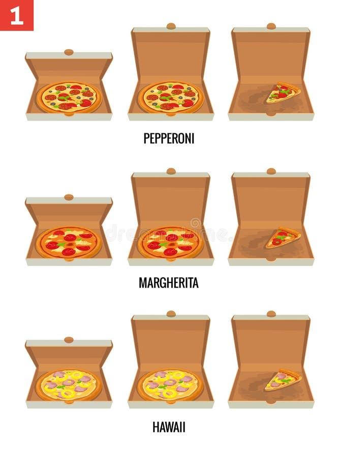 Pizza e fatias de pizza inteiras na caixa branca aberta e semi-aberta Pepperoni, Hawaiian, Margherita Plano isolado vetor ilustração royalty free