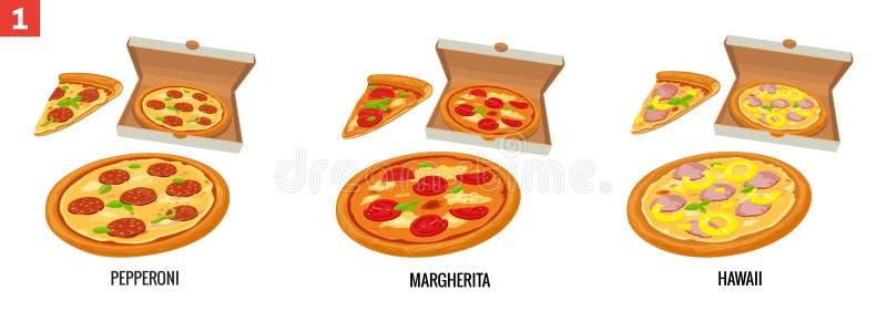 Pizza e fatias de pizza inteiras na caixa branca aberta Pepperoni, Hawaiian, Margherita Ilustração lisa isolada vetor ilustração stock