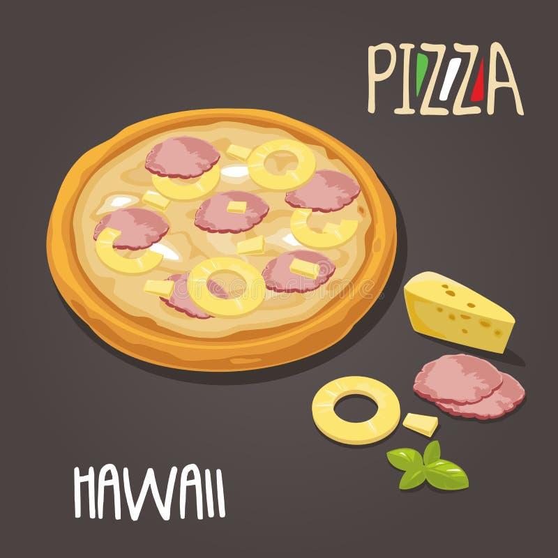 Pizza e fatias inteiras de Hawaiian da pizza na caixa branca aberta Ilustração lisa do vetor no fundo branco Para o cartaz, homen ilustração stock