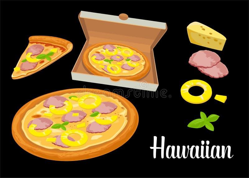 Pizza e fatias inteiras de Hawaiian da pizza na caixa branca aberta Ilustração lisa isolada no fundo preto Para o cartaz, homens ilustração stock