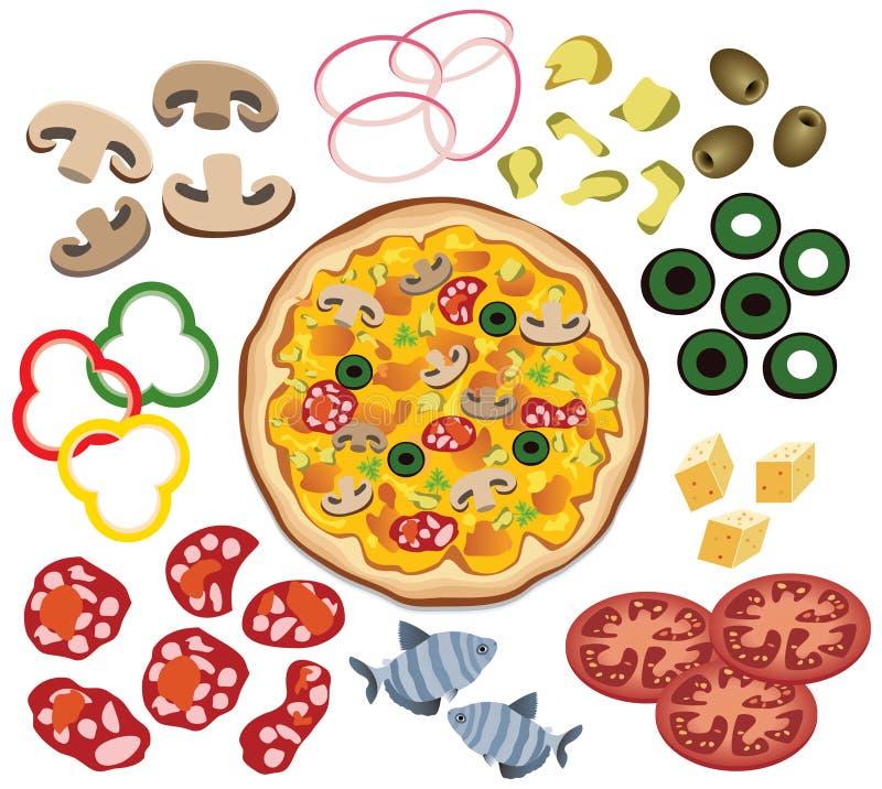 Pizza e ingredientes stock de ilustración