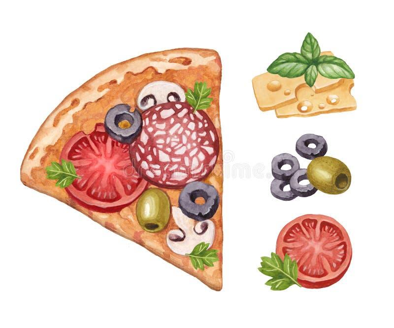 Pizza e ingredientes ilustración del vector