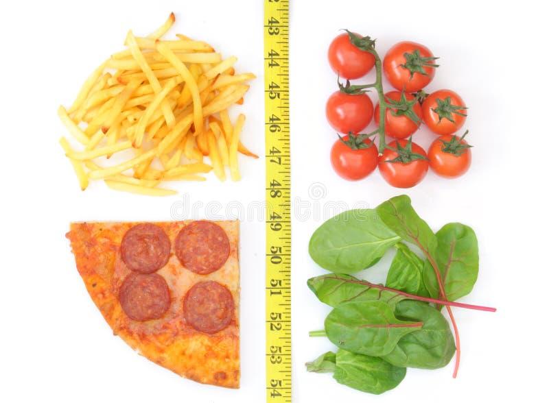 Escolha saudável ou insalubre imagem de stock