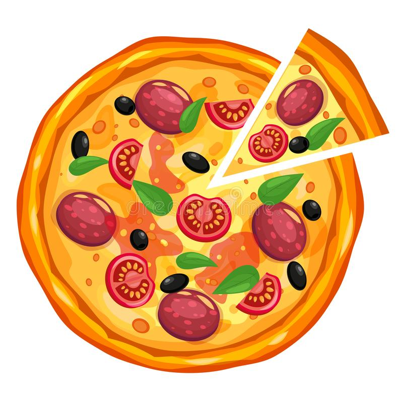 Pizza e triangolo della fetta con differenti ingredienti pomodoro, formaggio, oliva, salsiccia, basilico Alimenti a rapida prepar royalty illustrazione gratis