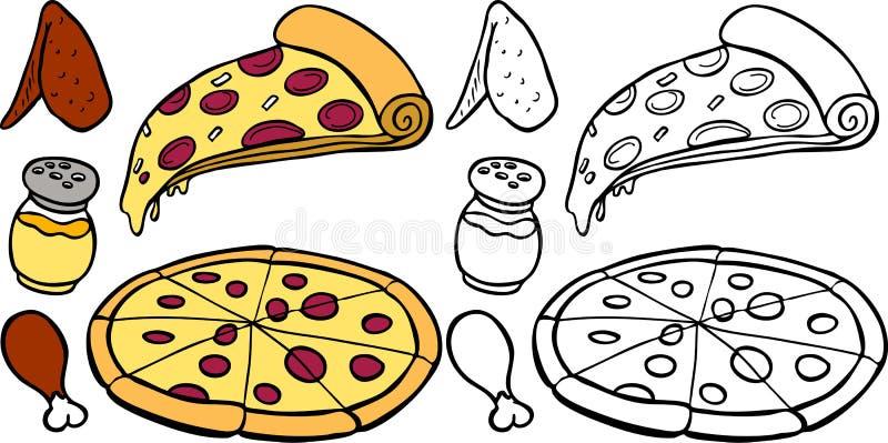 Pizza ed ali illustrazione vettoriale