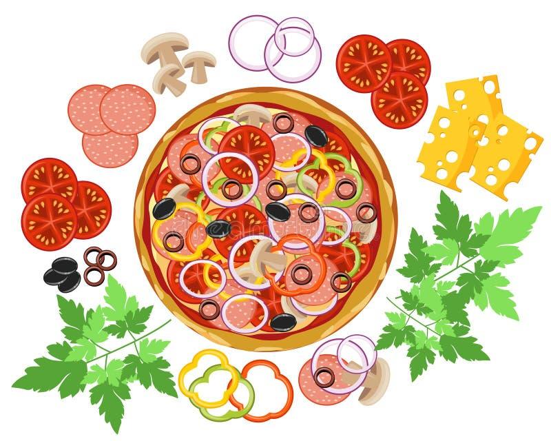 Pizza ed ingredienti illustrazione di stock