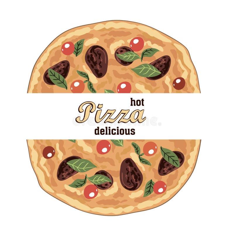 Pizza ed ingredienti italiani deliziosi caldi royalty illustrazione gratis