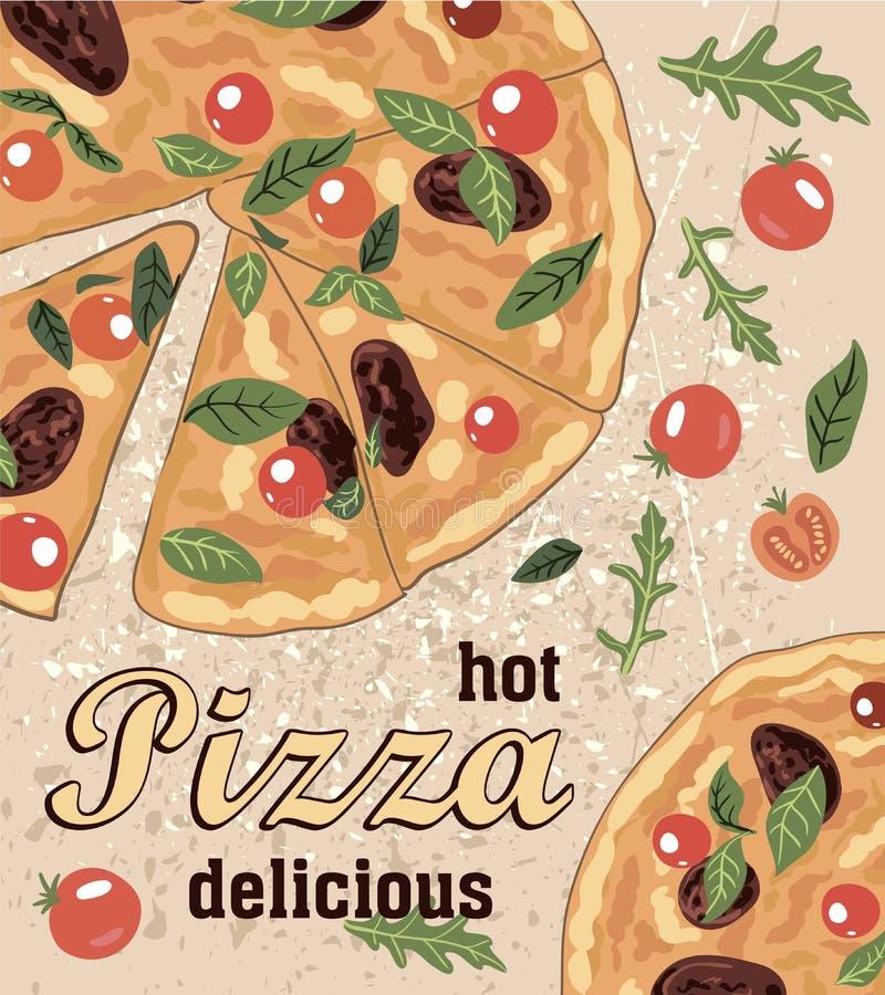Pizza ed ingredienti italiani deliziosi caldi illustrazione di stock
