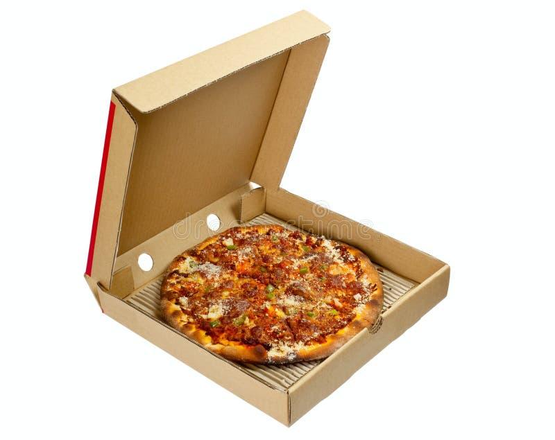 Pizza in een meeneemdoos royalty-vrije stock foto