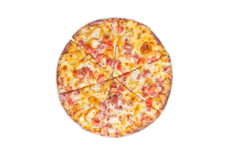 Pizza en el fondo blanco imagen de archivo libre de regalías