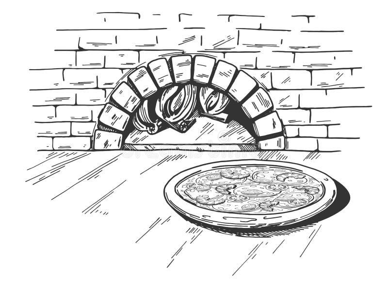 Pizza en fondo del horno de la leña libre illustration