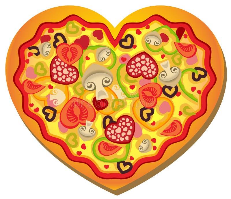 Pizza en forma de corazón libre illustration