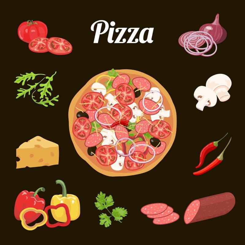 Pizza en ingrediënten Groenten, salami, kaas, kruiden royalty-vrije illustratie