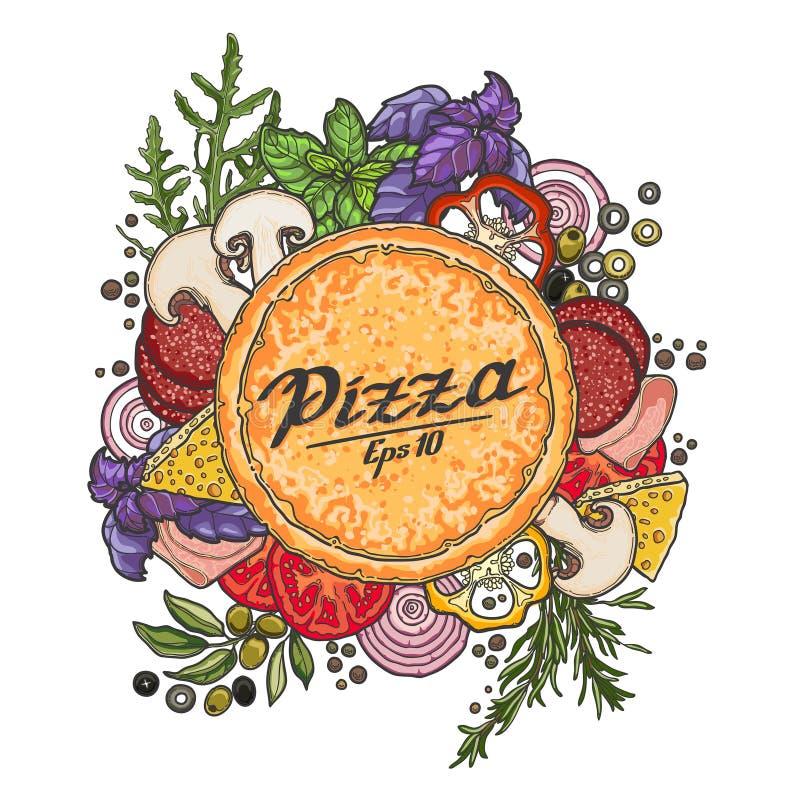Pizza en ingrediënten op witte achtergrond stock illustratie