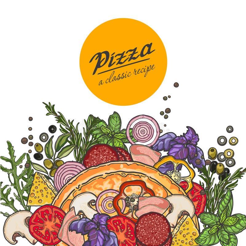 Pizza en ingrediënten op witte achtergrond royalty-vrije illustratie