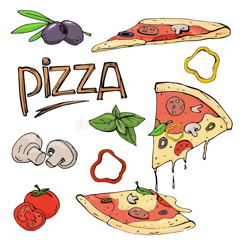 Pizza en ingrediënten op witte achtergrond vector illustratie