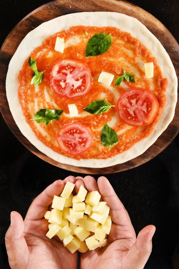 Pizza en ingrediënten voor pizza stock afbeelding