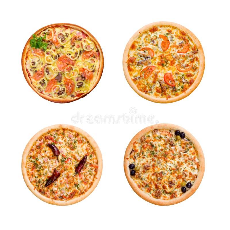 Pizza en Italiaanse keuken. Geïsoleerdn royalty-vrije stock afbeeldingen