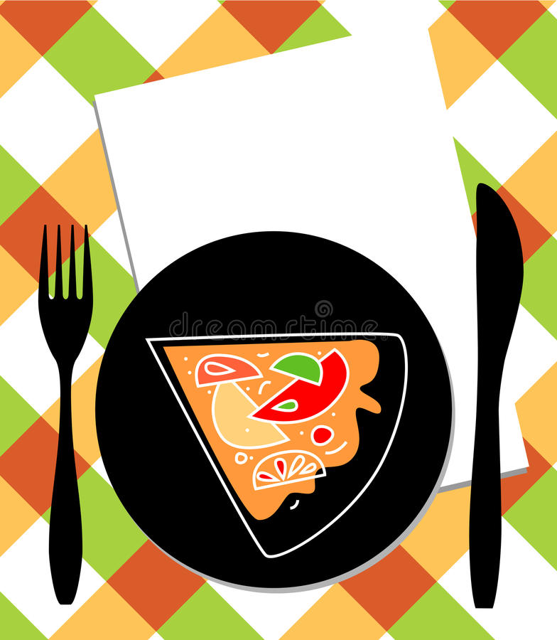 Pizza en la placa, el cuchillo y la fork stock de ilustración