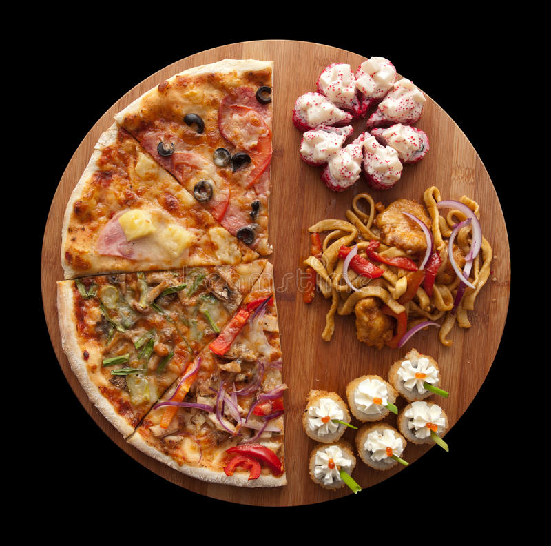 Pizza en sushi F stock afbeelding