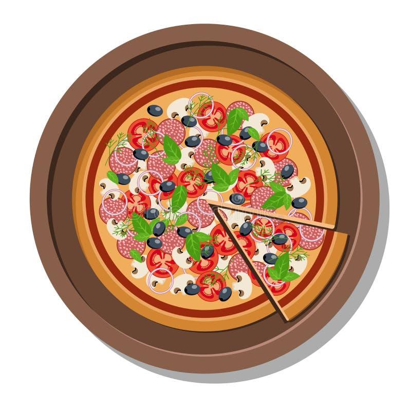 Pizza en un ejemplo del vector de la placa stock de ilustración