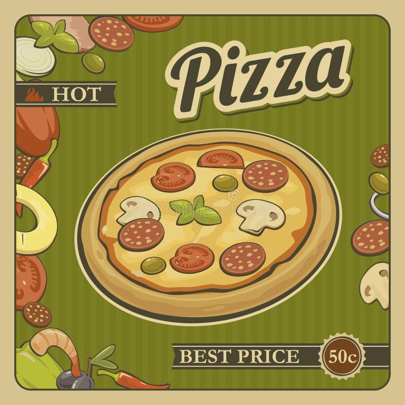 Pizza entera del vintage del cartel retro del vector y los ingredientes para hacer publicidad stock de ilustración