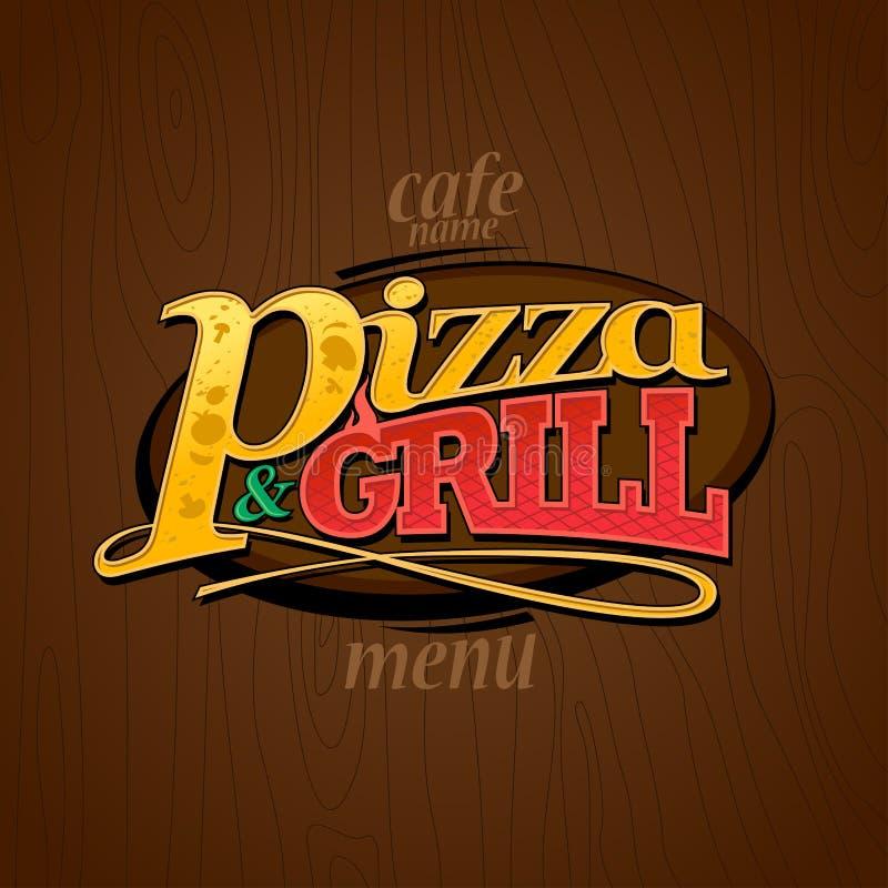 Pizza et gril de menu illustration de vecteur