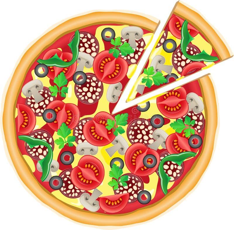 Pizza et illustration coupée de partie illustration stock