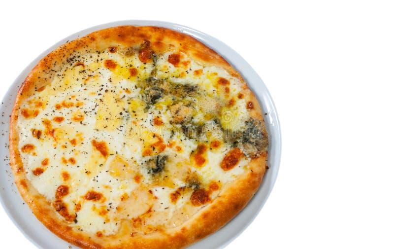 Pizza et x22 ; quatre cheese& x22 ; d'isolement sur le blanc image libre de droits