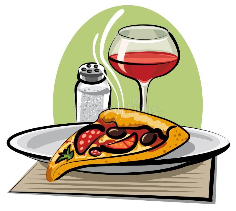 Pizza et vin chauds illustration libre de droits