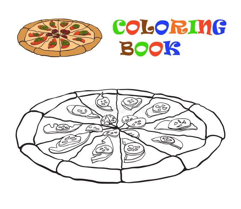 Pizza för färgläggningdiagram för bok färgrik illustration royaltyfri illustrationer
