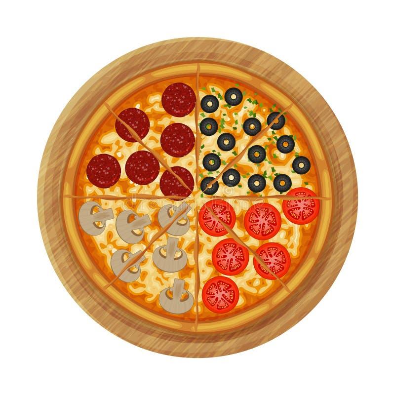Pizza f?r fyra s?songer med peperonin, oliv, champinjoner, tomat p? tr?br?de royaltyfri illustrationer