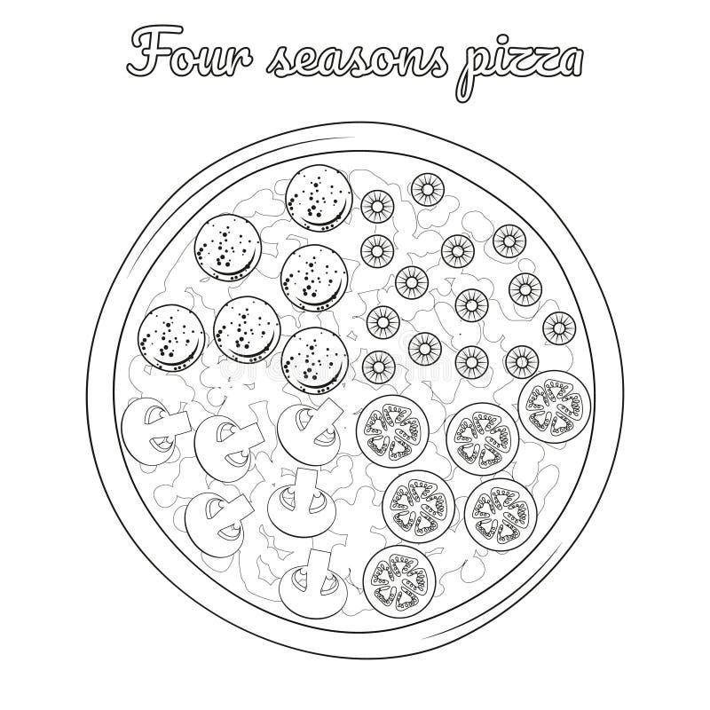 Pizza för fyra säsonger med salami, oliv, champinjoner, tomat vektor illustrationer