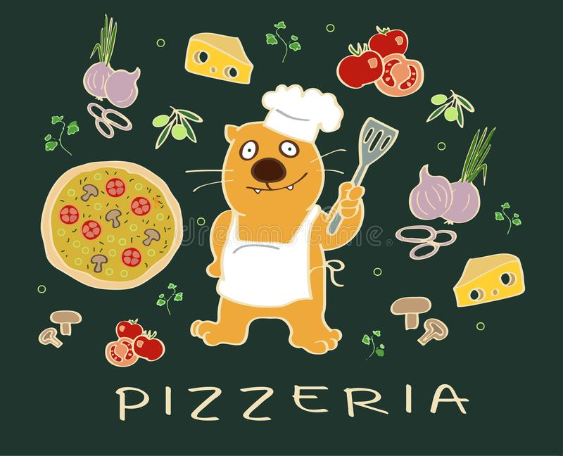 Pizza ingredients with a cook cat character stock photos