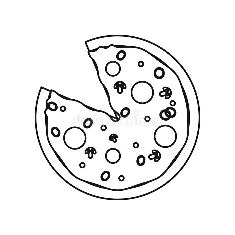 Pizza fast food with salami outline vector illustration
