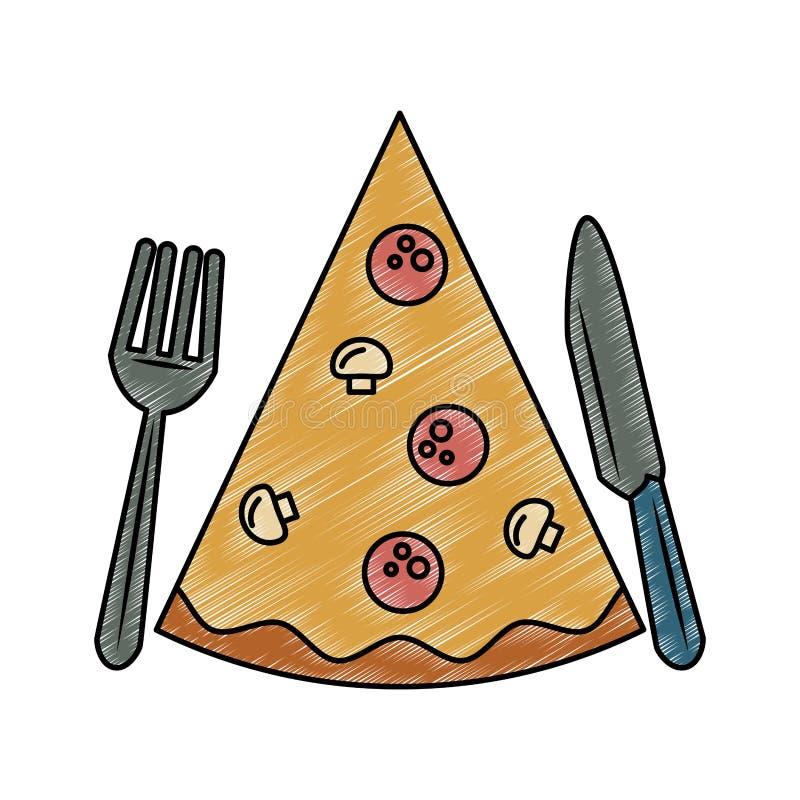 Pizza fasta food skrobanina royalty ilustracja